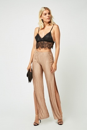 Pleated Slit Side Trousers