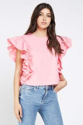 Ruffle Side Trim Detail Top