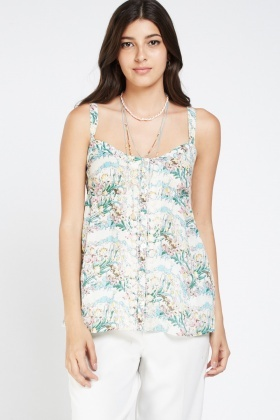 Stitched Floral Print Contrast Cami Top