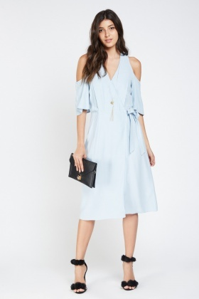 Tie Up Cold Shoulder Wrap Dress