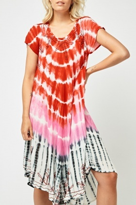 Embroidered Tie Dye Tent Dress