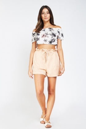 Gathered Tie Up Suedette Shorts