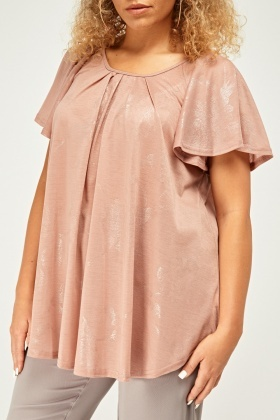 Metallic Frilly Swing Top