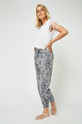 Ornate Printed Tapered Trousers