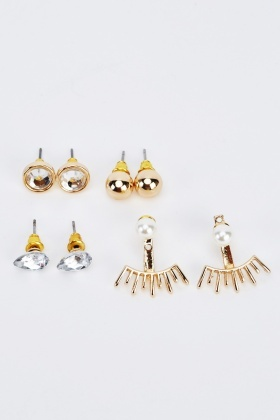 Pack Of 4 Set Studded Earrings