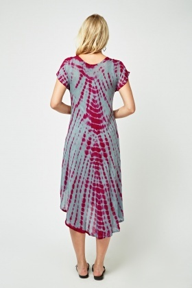 Tie Dye Embroidered Tent Dress