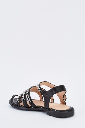 Chained Faux Leather Sandals