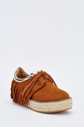 Chunky Suedette Fringed Shoes