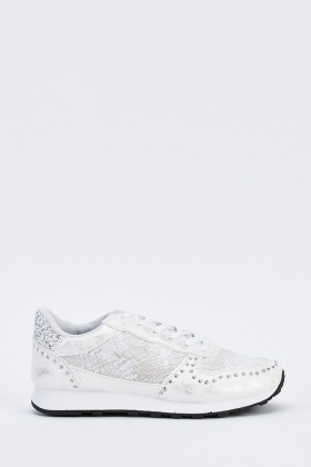 Contrast Metallic Sequin Low Top Trainers