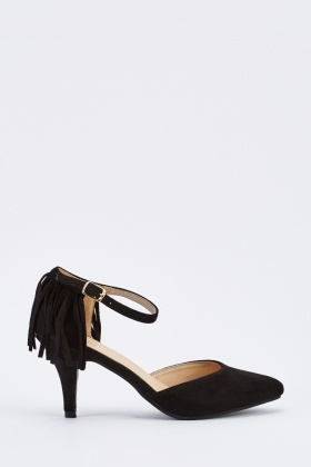 Fringed Suedette Low Heels