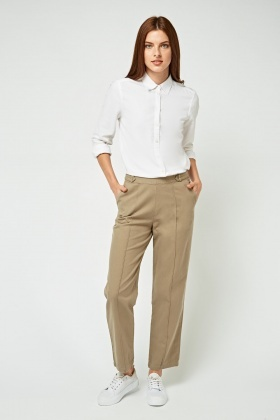 Casual Straight Fit Cigarette Trousers