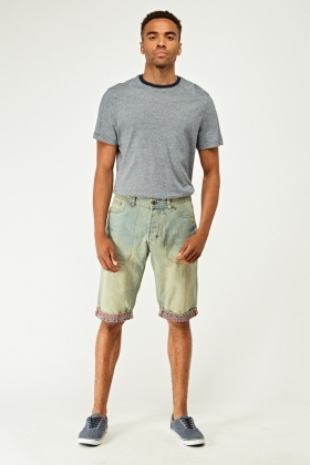 Denim Rolled Hem Shorts