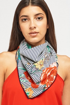 Floral Striped Print Scarf