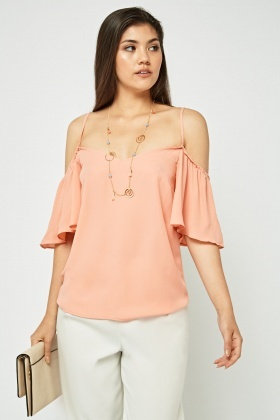 Frilly Cold Shoulder Sheer Top