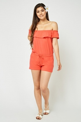 Frilly Off Shoulder Casual Playsuit