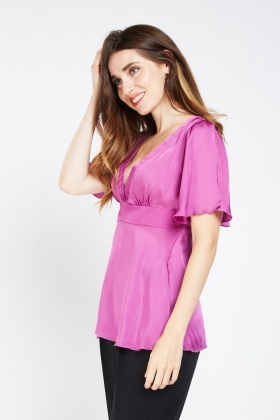 Frilly Slit Sleeve Sateen Top