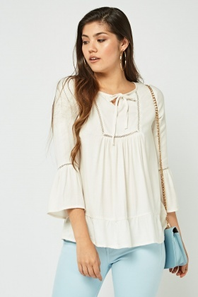 Frilly Tie Up Smock Blouse