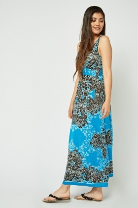 Henna Print Sweetheart Maxi Dress