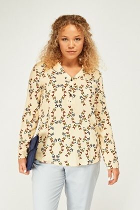 Long Sleeve Butterfly Print Top