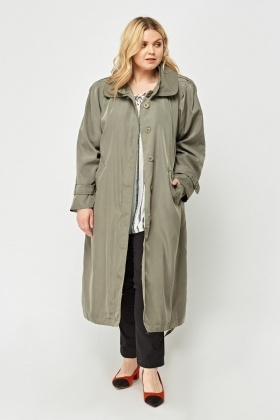 Olive Long Line Mac Coat