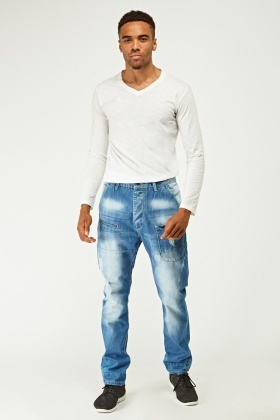 Slim Fit Washed Blue Distressed Jeans