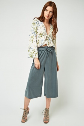Tie Up Wide Leg Crop Culottes