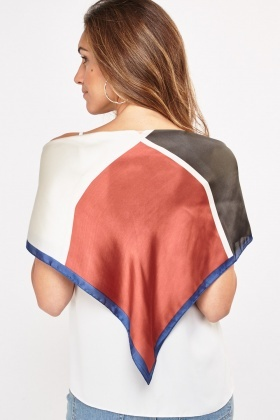 Contrast Color Block Sateen Scarf