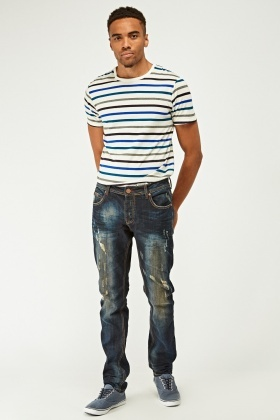 Distressed Washed Denim Jeans