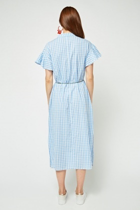 Embroidered Midi Gingham Dress