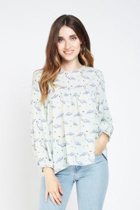Flamingo Print Smock Blouse