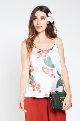 Floral Print Sateen Camisole Top