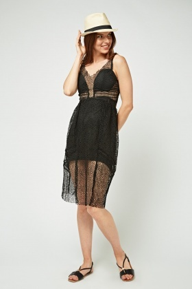 Perforated Mesh Overlay Sweetheart Dress