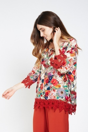 Print Crochet Trim Tunic Top