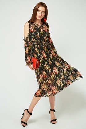 Printed Cold Shoulder Midi Lace Dress