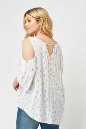 Printed Cut Out Shoulder Top