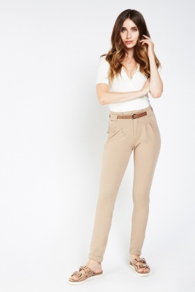 Stretchy Low Rise Tapered Trousers