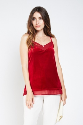Velveteen Sheer Contrast Cami Top