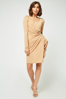 Belted Ruched Side Wrap Dress