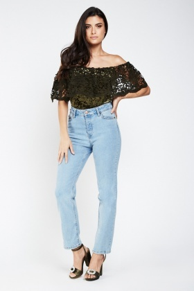 Crochet Overlay Off Shoulder Velveteen Bodysuit