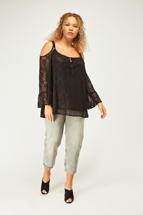 Cut Out Overlay Lace Sleeve Top