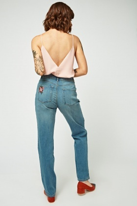 Flower Embroidered Straight Cut Jeans