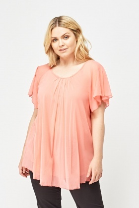 Frilly Sleeve Sheer Top