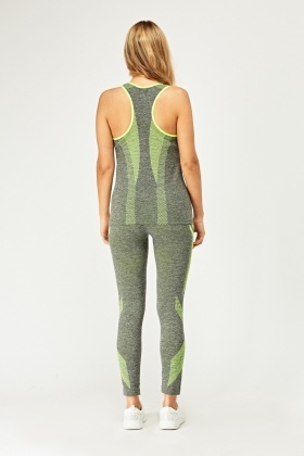 Mix Print Sports Tank And Leggings Set