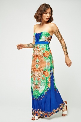 Ornate Print Bandeau Maxi Dress