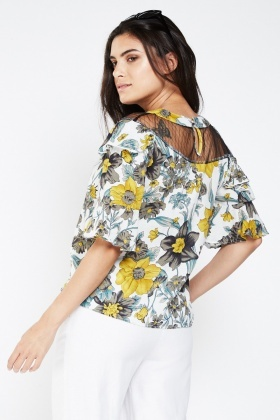 Printed Frilly Mesh Insert Top