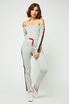 Striped Side Off Shoulder Jumpsuit