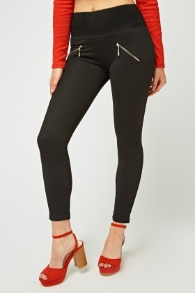 Textured High Rise Skinny Leggings