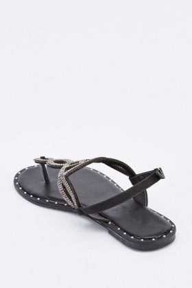 Encrusted Spiral Cut Out Flat Sandals