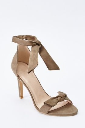 Knotted High Heel Suedette Sandals