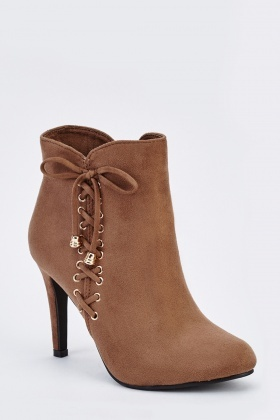 Lace Up Suedette Ankle Boots